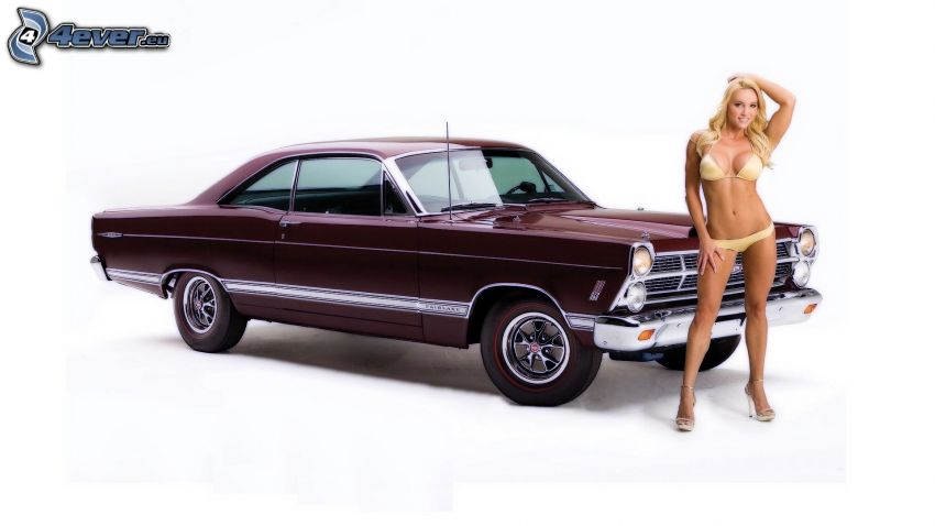 Ford, oldtimer, sexy woman in swimsuit