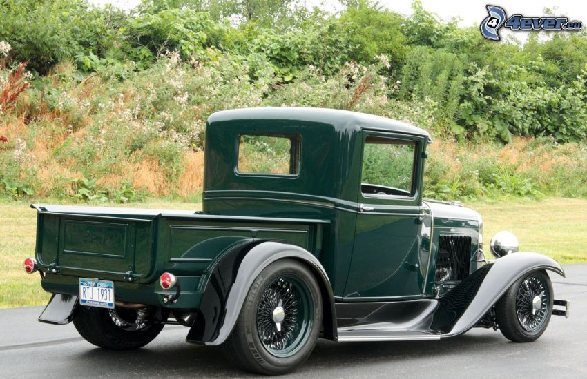Ford, pickup truck, oldtimer, greenery