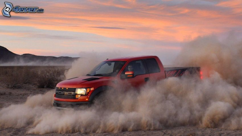 Ford F150 raptor, desert, dust