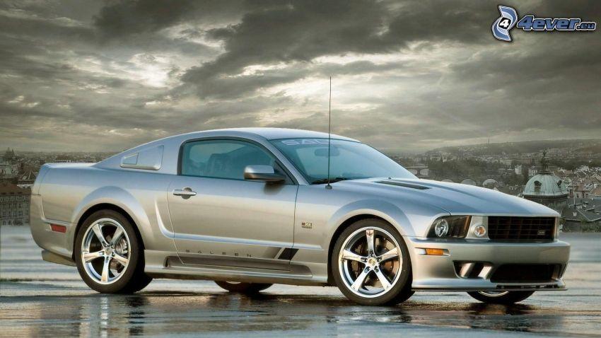 Ford Mustang, sunbeams behind clouds