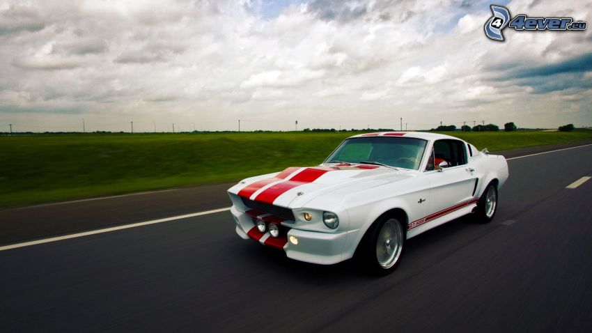 Ford Mustang Shelby GT500, road, clouds