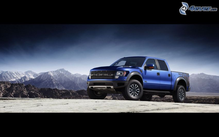 Ford Raptor, pickup truck, snowy mountains