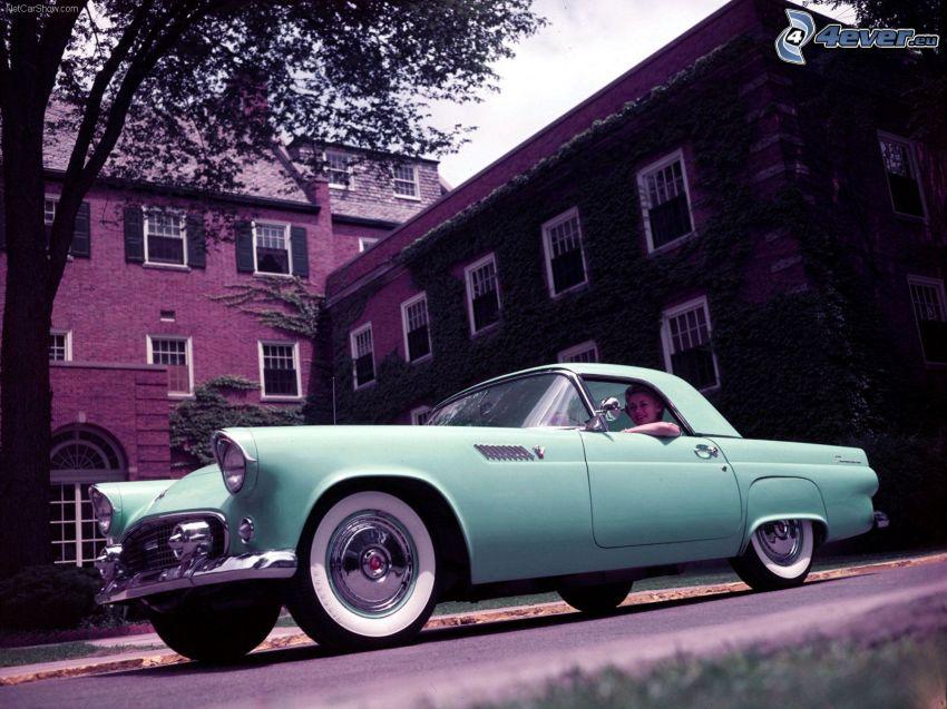 Ford Thunderbird, brick building, oldtimer
