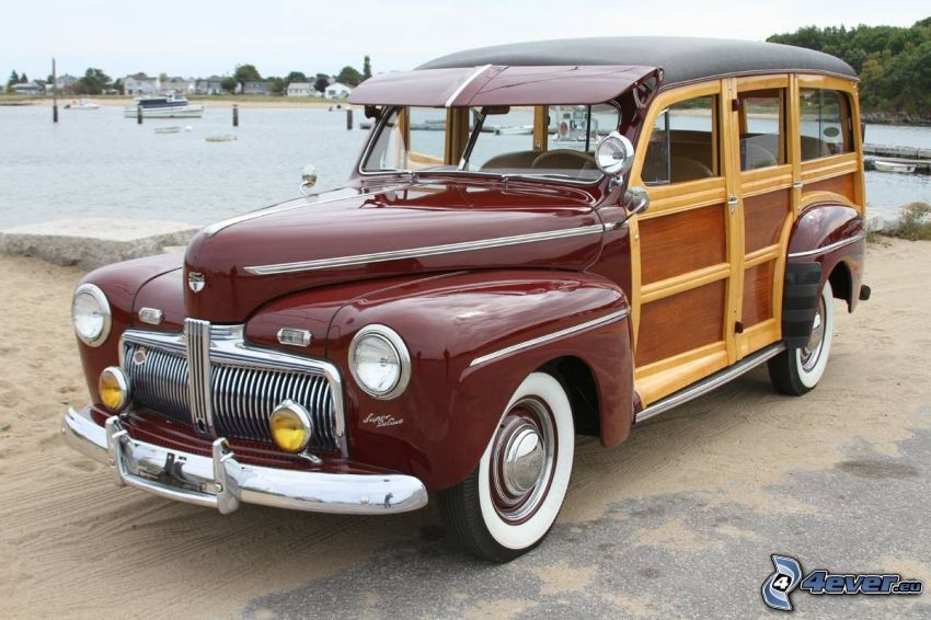 Ford Woody, oldtimer, lake