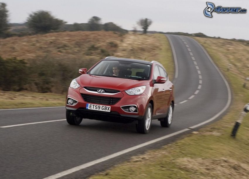 Hyundai ix 35, road, speed