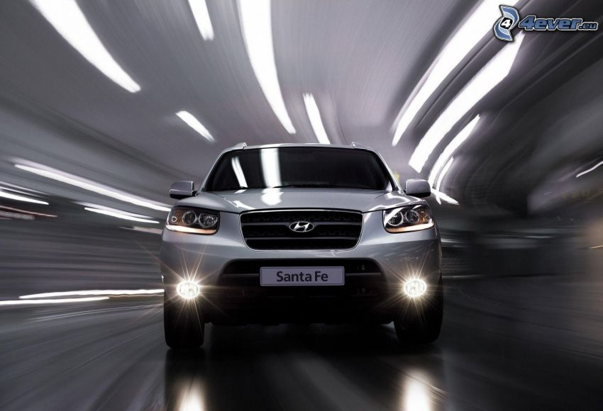 Hyundai Santa Fe, SUV, speed, tunnel