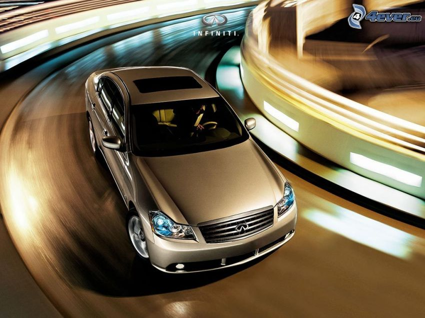 Infiniti M, road curve, speed