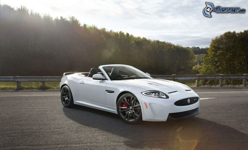 Jaguar XKR-S Convertible, convertible, road, trees