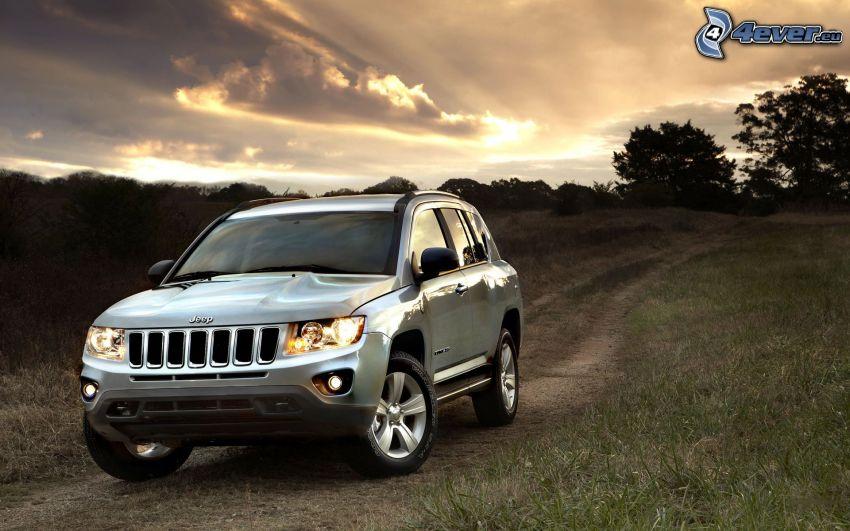 Jeep Compass, field path, evening sky