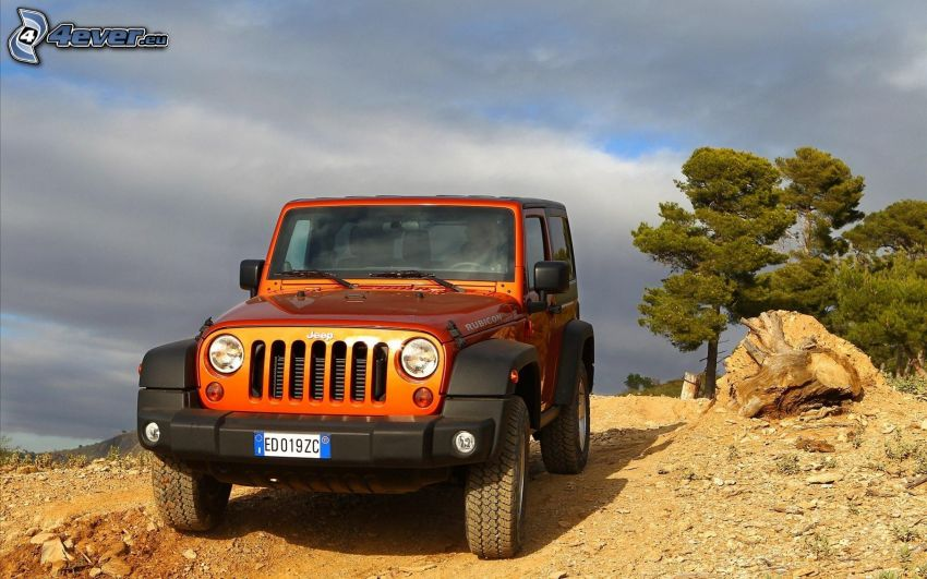 Jeep Rubicon, hill, trees, clouds