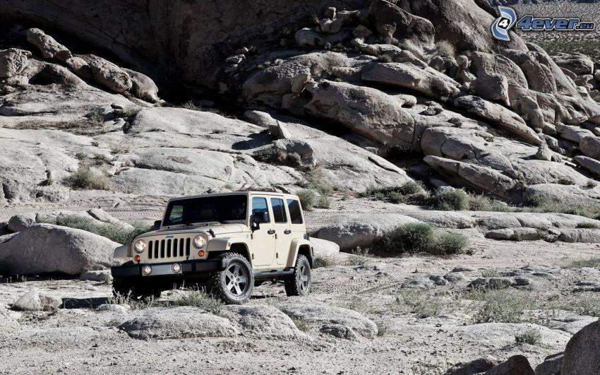Jeep Wrangler, rocks