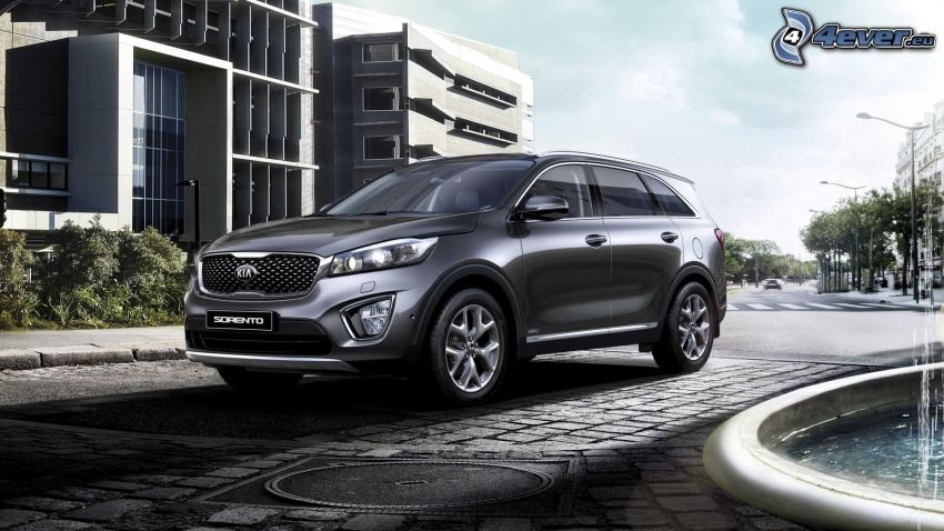 Kia Sorento, fountain, street