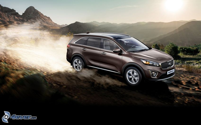 Kia Sorento, speed, dust, mountain