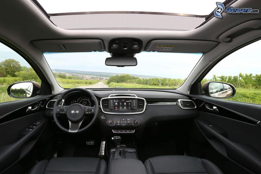 Kia Sorento, steering wheel, dashboard, interior, view