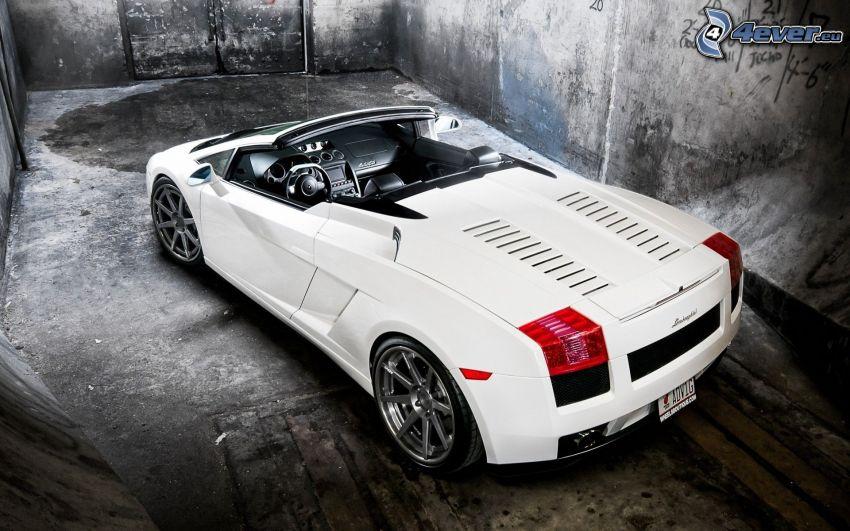 Lamborghini, convertible, sports car, wall
