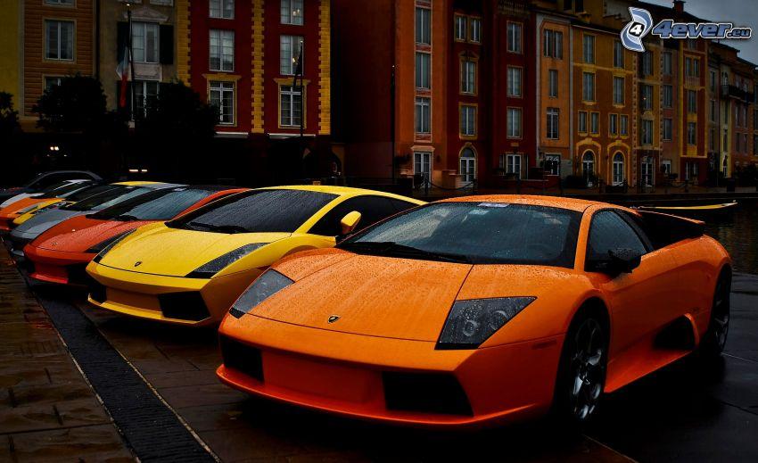 Lamborghini, street, houses