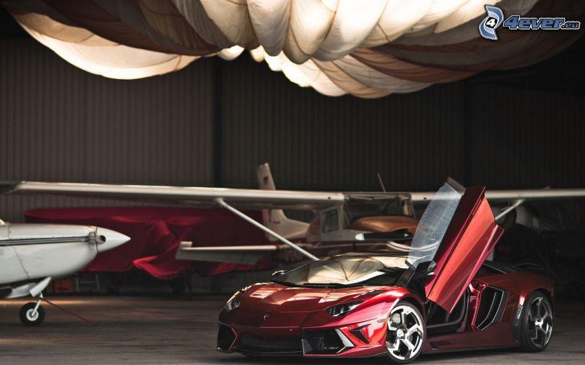 Lamborghini Aventador, door, airplanes, hangar