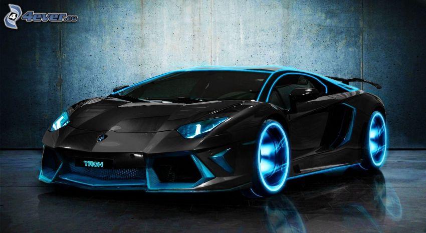 Lamborghini Aventador, neon