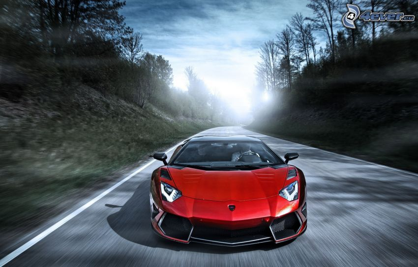 Lamborghini Aventador, road, speed