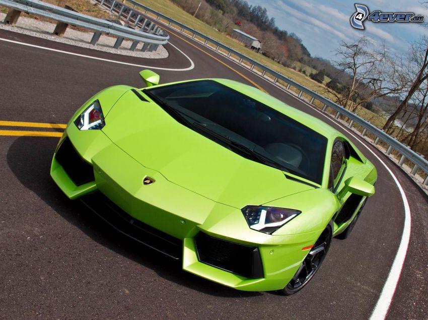 Lamborghini Aventador, road curve