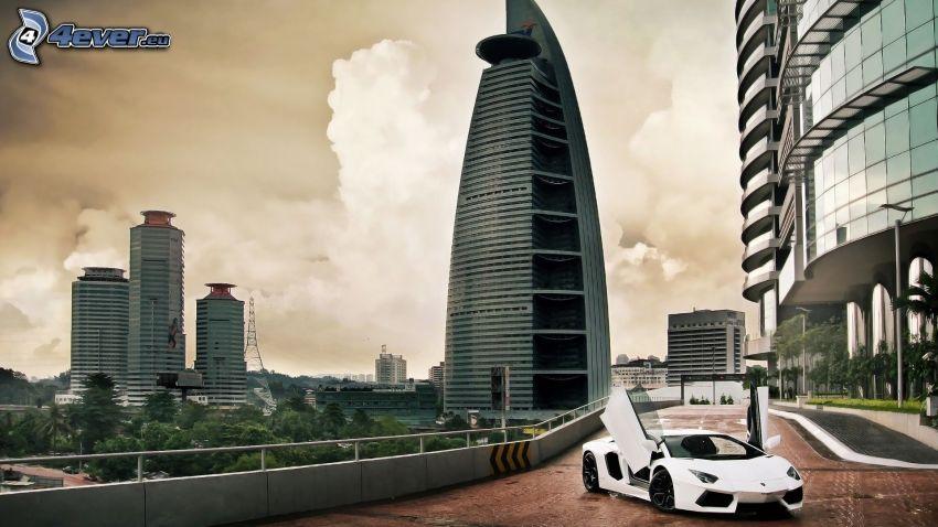 Lamborghini Aventador, skyscrapers