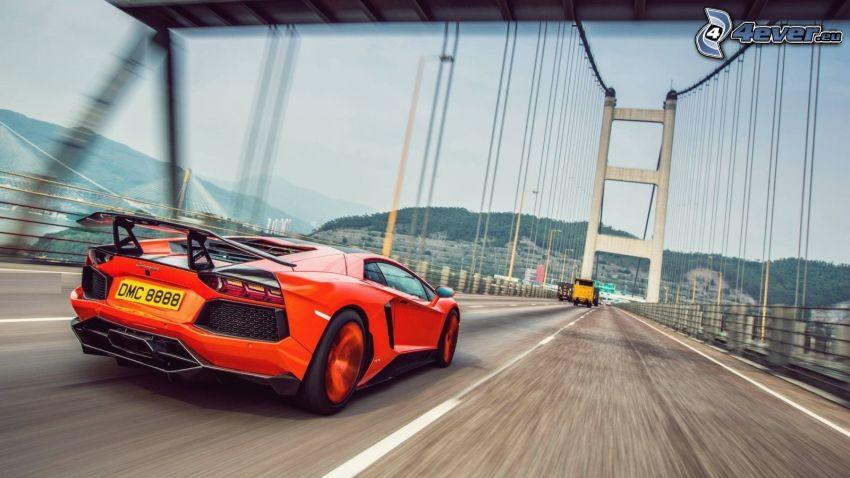Lamborghini Aventador, speed, bridge