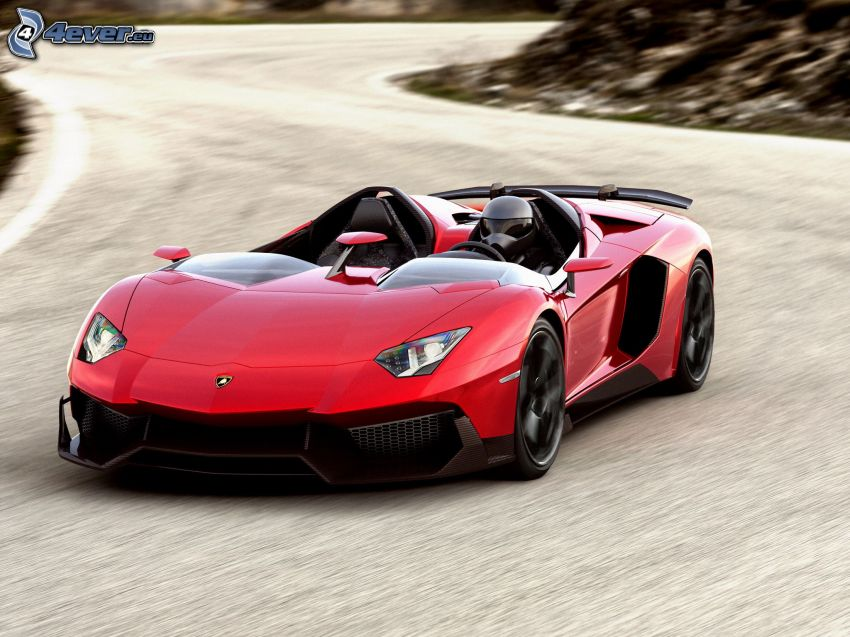 Lamborghini Aventador, speed, road curve
