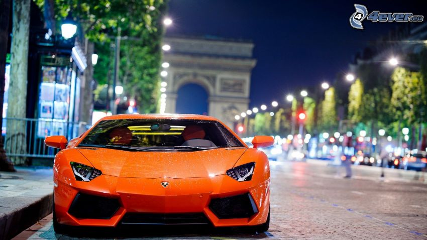 Lamborghini Aventador, street, night, Arc de Triomphe, Paris, France