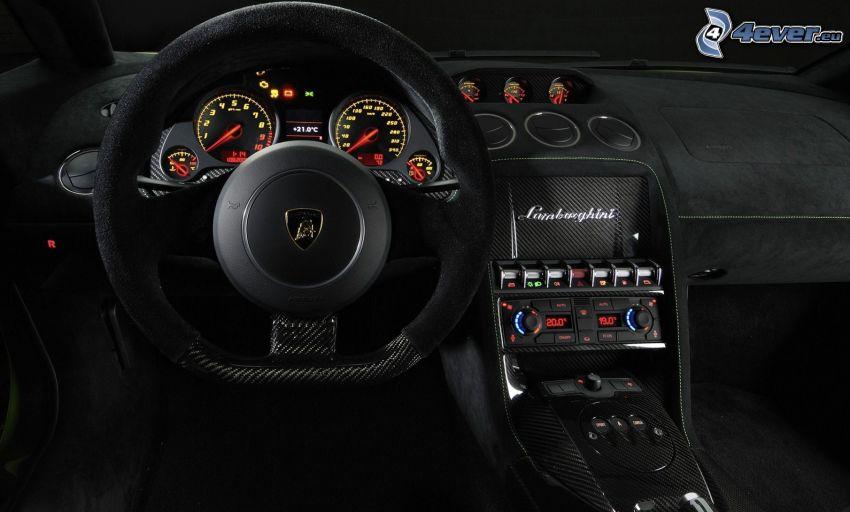 Lamborghini Gallardo LP570, interior, steering wheel, dashboard