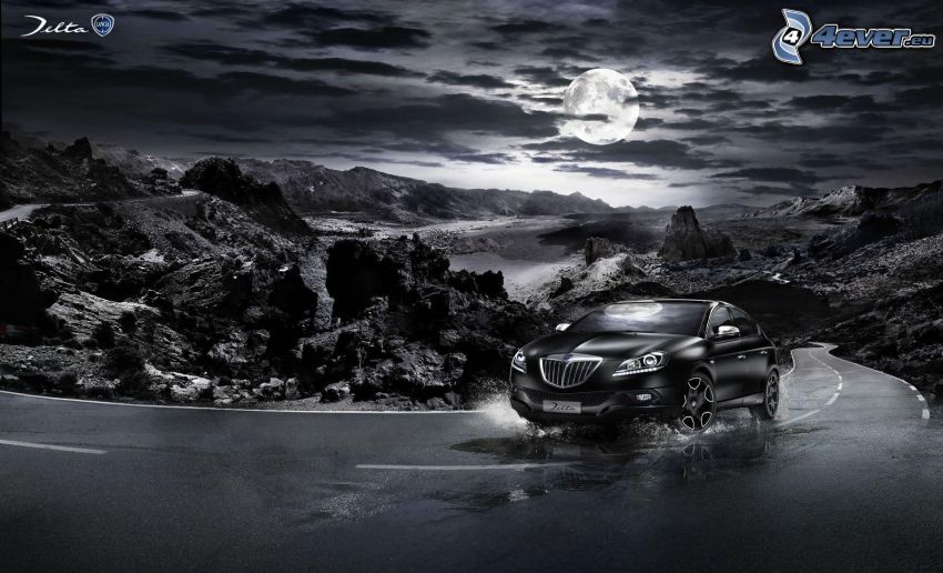 Lancia Jetta, road, water, rocks, night, moon, clouds, black and white