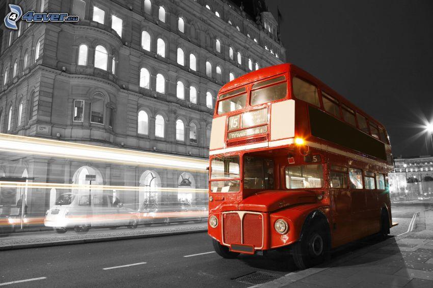 London bus, night city, lights, speed