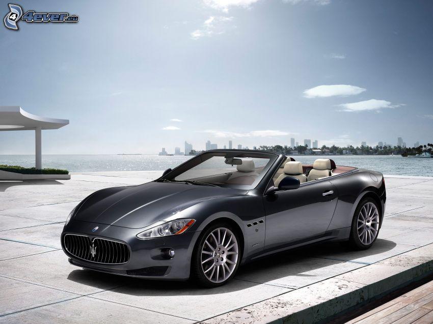 Maserati GranCabrio, convertible, pavement, sea