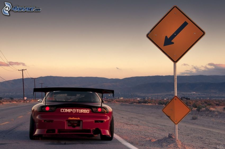 Mazda RX7, road sign, mountain