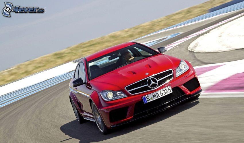 Mercedes-Benz E63 AMG, road curve, racing circuit