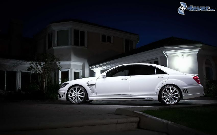Mercedes-Benz S63 AMG, house, darkness
