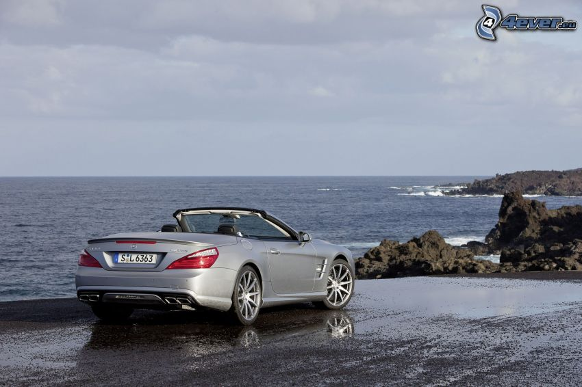 Mercedes-Benz SL63 AMG, convertible, sea, rocks in the sea