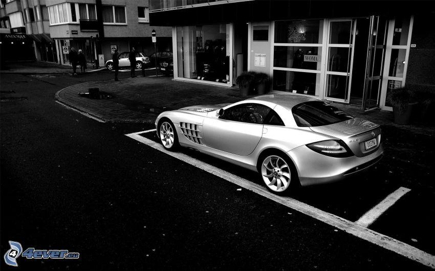 Mercedes-Benz SLR McLaren, street, black and white photo