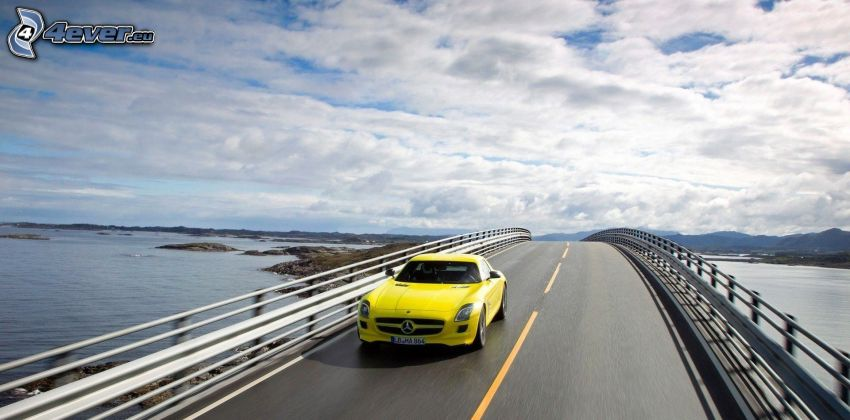 Mercedes-Benz SLS AMG, bridge, speed, clouds