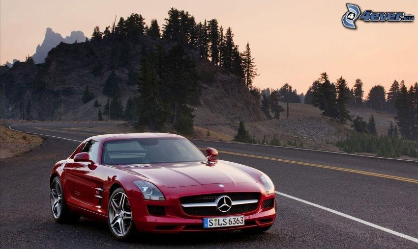 Mercedes-Benz SLS AMG, road, rocky hill, coniferous trees