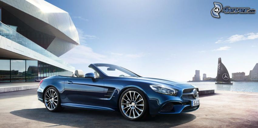 Mercedes SL, convertible, luxury house