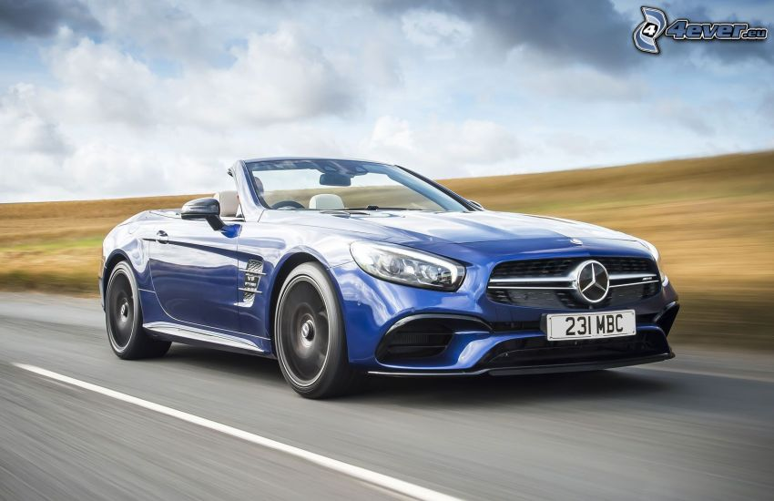 Mercedes SL, convertible, speed, sky