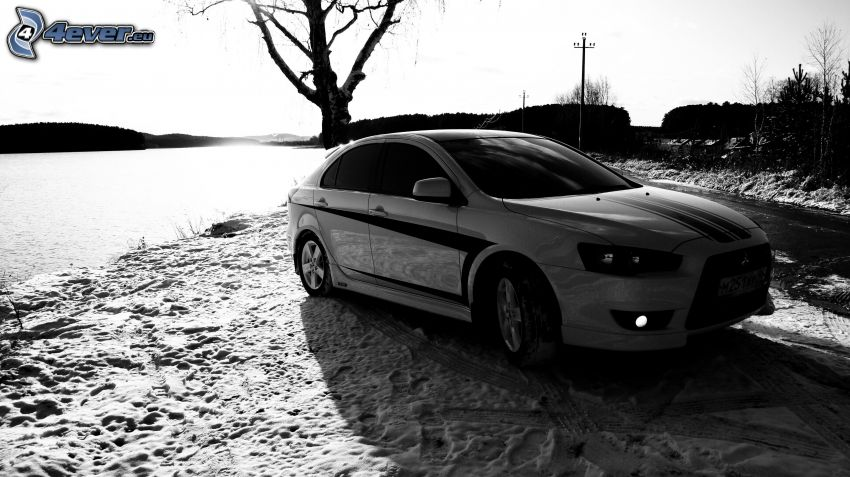 Mitsubishi, snow, water