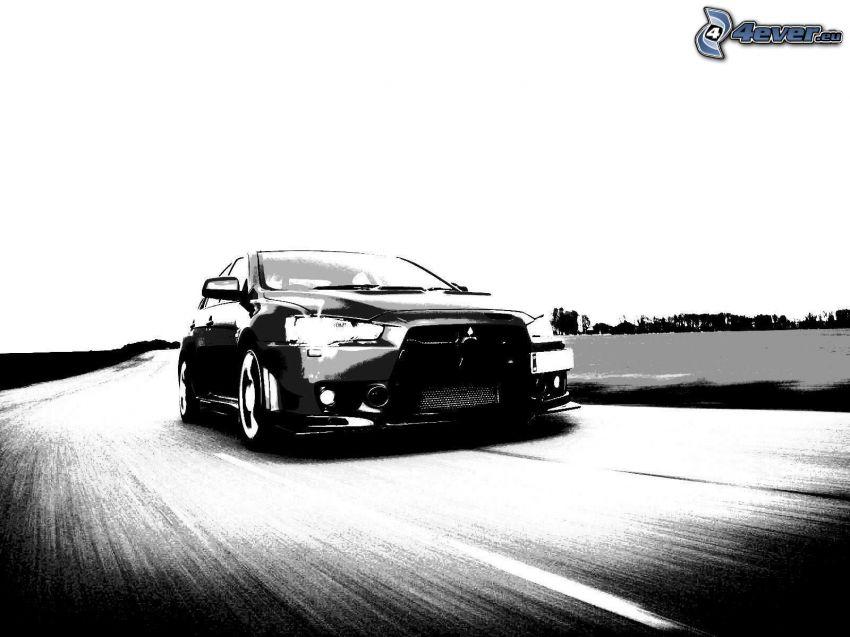 Mitsubishi, speed, black and white