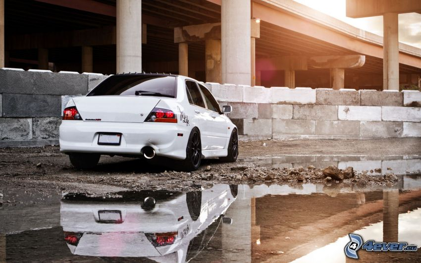 Mitsubishi Lancer Evolution, building, reflection, fen, under the bridge