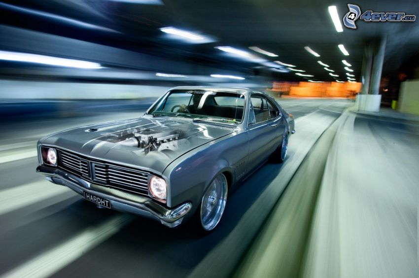 Muscle Car, oldtimer, tunnel, speed