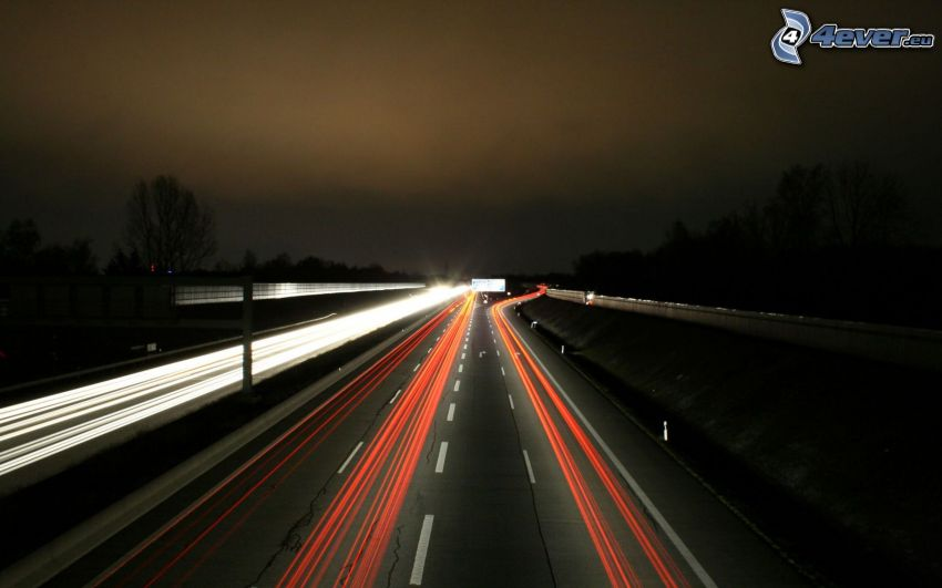 night highway, lights