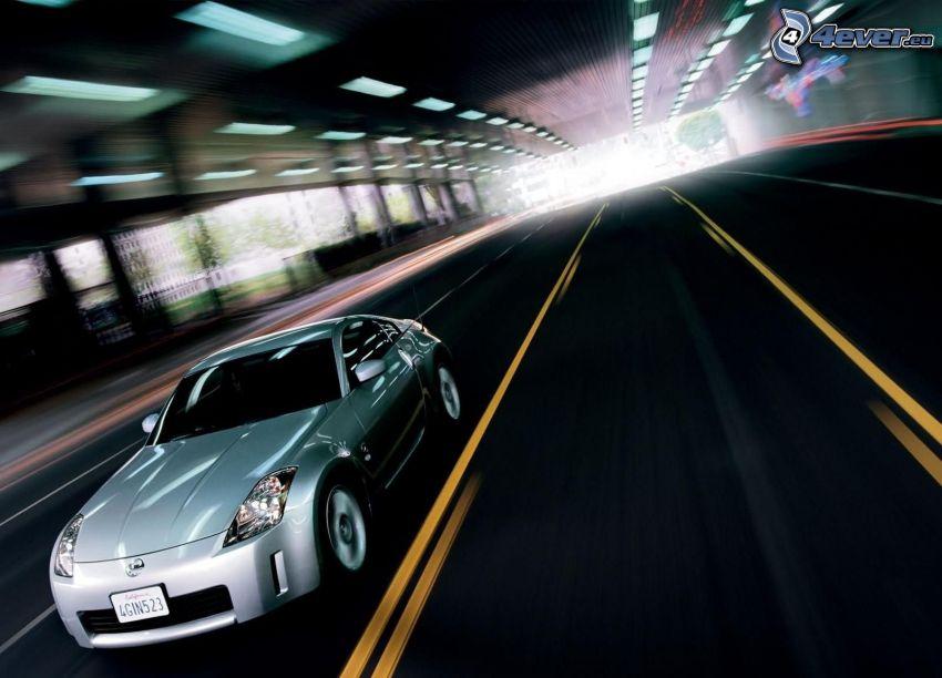 Nissan, speed, road, tunnel
