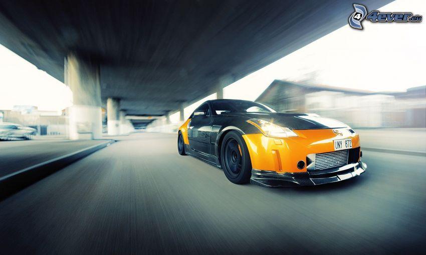Nissan 350Z, speed, under the bridge