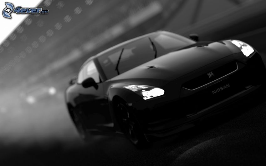 Nissan GT-R, black and white