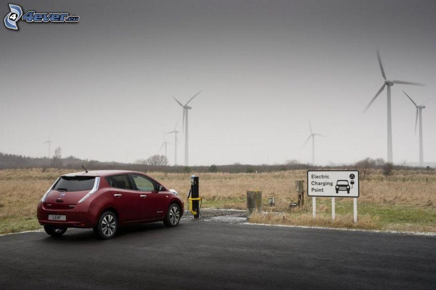 Nissan Leaf, wind power plant, charging
